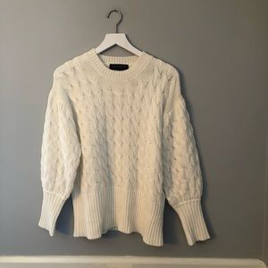 New Eloquii White Cable Knit Sweater 14/16